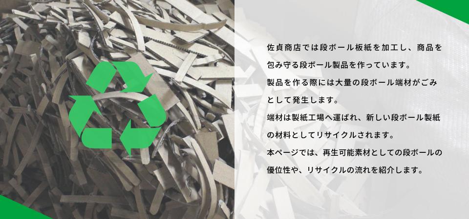 佐貞商店では段ボール板紙を加工し、商品を 包み守る段ボール製品を作っています。製品を作る際には大量の段ボール端材がごみとして発生します。端材は製紙工場へ運ばれ、新しい段ボール製紙 の材料としてリサイクルされます。本ページでは、再生可能素材としての段ボールの優位性や、リサイクルの流れを紹介します。